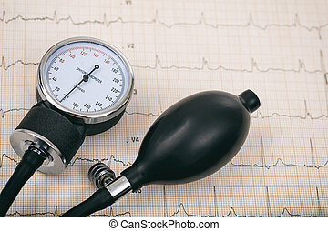 Blood pressure manometer on a cardio