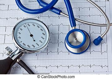 Blood pressure measurement and ECG curve. Sickness caused by high blood pressure.