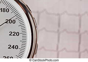 blood pressure measurement and ecg curve.