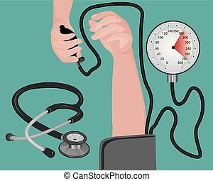 Blood pressure measuring cardio exam