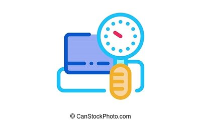 blood pressure measuring Icon Animation. color blood pressure measuring animated icon on white background