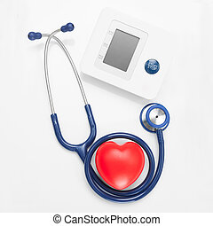 Blood pressure measuring tools with red heart - studio shoot on - 1 to 1 ratio