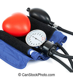 Blood pressure measuring tools with red toy heart - studio shoot - 1 to 1 ratio