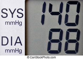 Blood pressure meter - Close up of screen on blood pressure...