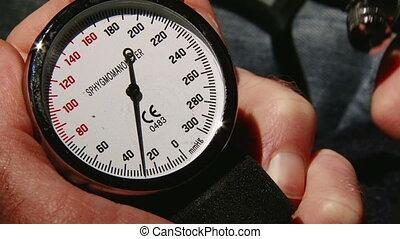 Blood pressure meter, up. Medicine, health care.