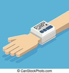 Blood pressure monitor on hand.