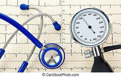 Blood pressure monitor, stethoscope and EKG curve - Blood...