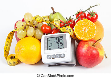 Blood pressure monitor with result of measurement, fruits...