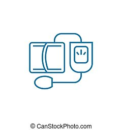 Blood pressure monitoring linear icon concept. Blood pressure monitoring line vector sign, symbol, illustration.