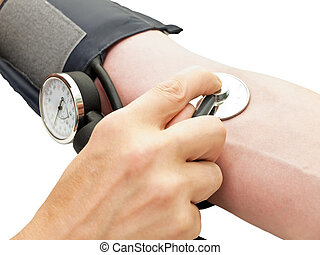 blood pressure - photo of the men hands checking blood...