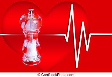 Blood Pressure - Salt Mill on Heart Background - Excess salt...