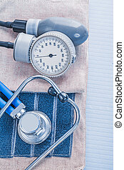 blood pressure stethoscope medical concept