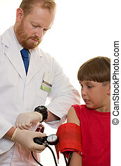 Blood Pressure test - A doctor is pumping up a blood ...
