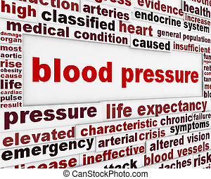 Blood pressure warning message background. Medical poster...