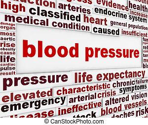 Blood pressure warning message background. Medical poster...