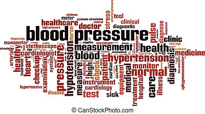 Blood pressure word cloud concept. Vector illustration