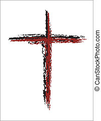 Blood Red Cross Grunge - simple grunge drawing of a red and...