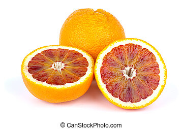 Blood (red-pulp Malta) orange and halves isolated on the white background