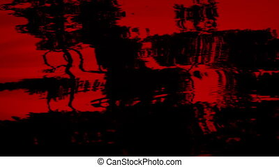 Blood Red River Rapids Abstract - Closeup of blood red color...