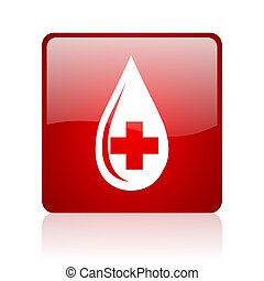 blood red square web glossy icon