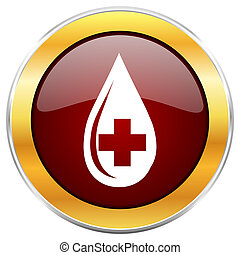 Blood red web icon with golden border isolated on white background. Round glossy button.