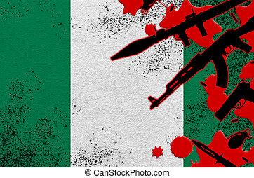 blood., rojo, militar, bandera, nigeria, resultado, ataque, concepto, terror, armas, mortal, operaciones, vario, o