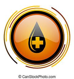 blood round design orange glossy web icon