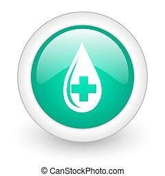blood round glossy web icon on white background