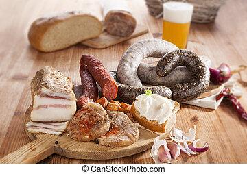 Traditional pork meat eating. - Blood sausage, rice sausage,...