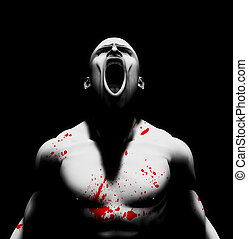 Rendered image of an angry man with blood splattered on his body