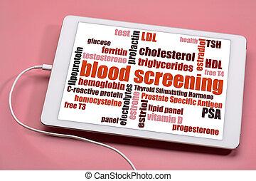 blood screening word cloud - health concept