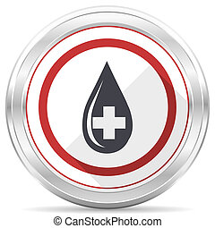 Blood silver metallic chrome border round web icon on white background