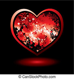blood spalt valentine - Red love heart with ink splat and...