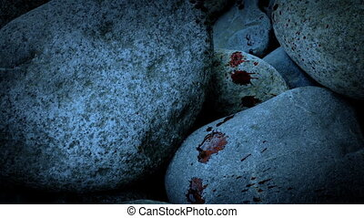 Blood Spatters On Rocks In The Evening - Blood spatteres on...