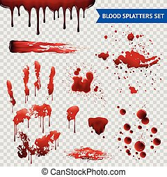 Blood Spatters Realistic Samples Transparent Set - Blood...
