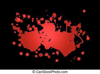 Blood splash vector illustration. Red