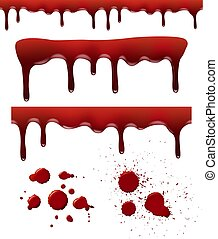 Blood splashes. Red dribble drops bloodstain splash liquid elements brush textures vector realistic template