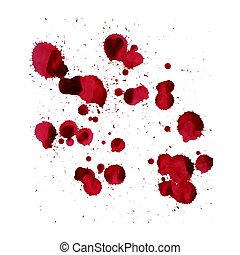 Blood splashes. Vector image isolated on a white background.