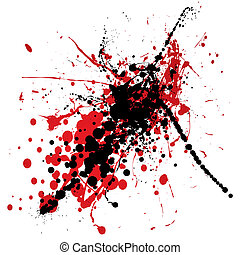 blood splat with black - red and black ink splat with blood...