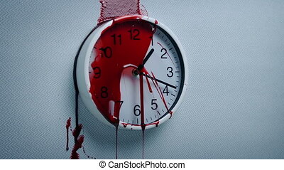 Blood Splats On Wall Clock - Blood spatters on clock on the...