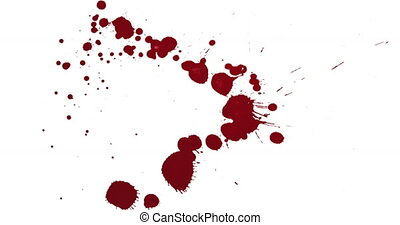 Top view blood splatter dripping isolated on white
