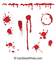 Blood splatter - vector - Set of different blood drops,...