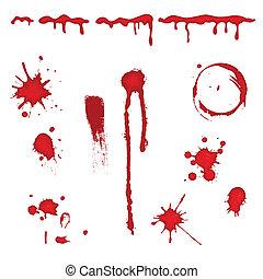 Blood splatter - vector - Set of different blood drops, ...