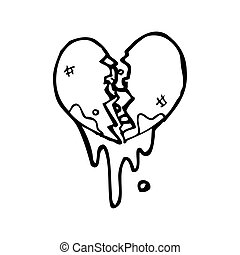 blood splattered heart cartoon