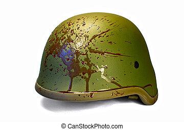 Blood splattered helmet isolated