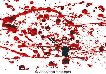 Blood splattered on a white background