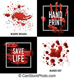 Blood Splatters 4 Icons Square Concept - Save life awareness...