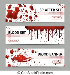 Blood Splatters Horizontal Banners Set - Blood splatters...