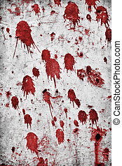 Red splatter on a grungy rock wall.