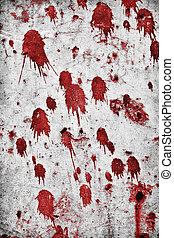 Blood Splatters - Red splatter on a grungy rock wall.
